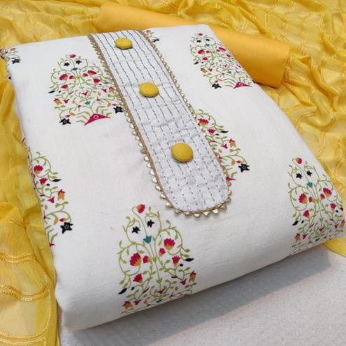 Attractive White - Yellow Colored Casual Wear Printed Cotton Dress Material