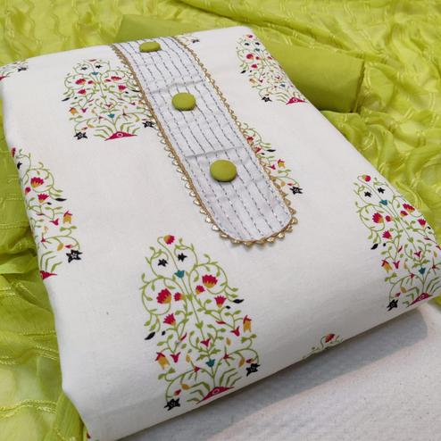 Beautiful White - Green Colored Casual Wear Printed Cotton Dress Material