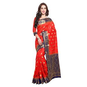 Red & Blue Festive Wear Banarasi Art Silk Saree