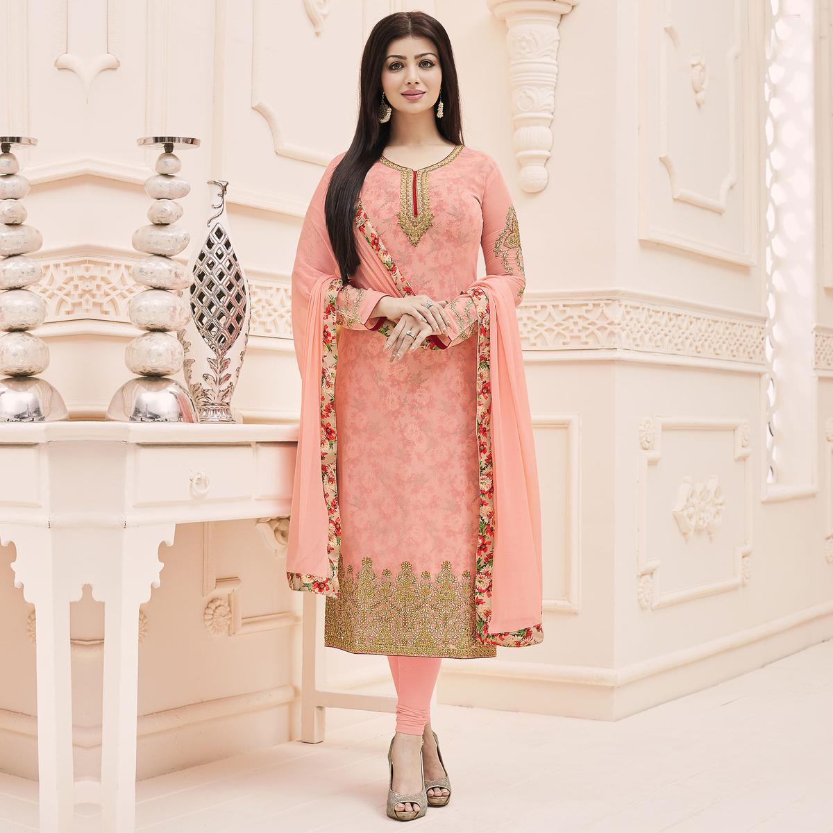 Peach Semi Stitched Faux Georgette Suit