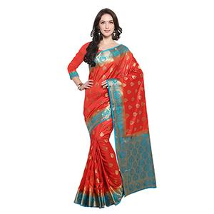 Red & Firozi Blue Festive Wear Banarasi Art Silk Saree