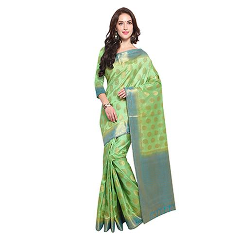 Green & Firozi Blue Festive Wear Banarasi Art Silk Saree