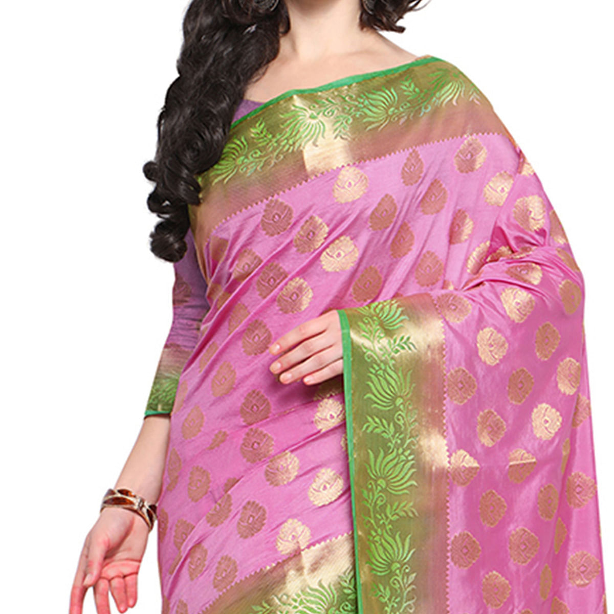 Pink & Green Festive Wear Banarasi Art Silk Saree