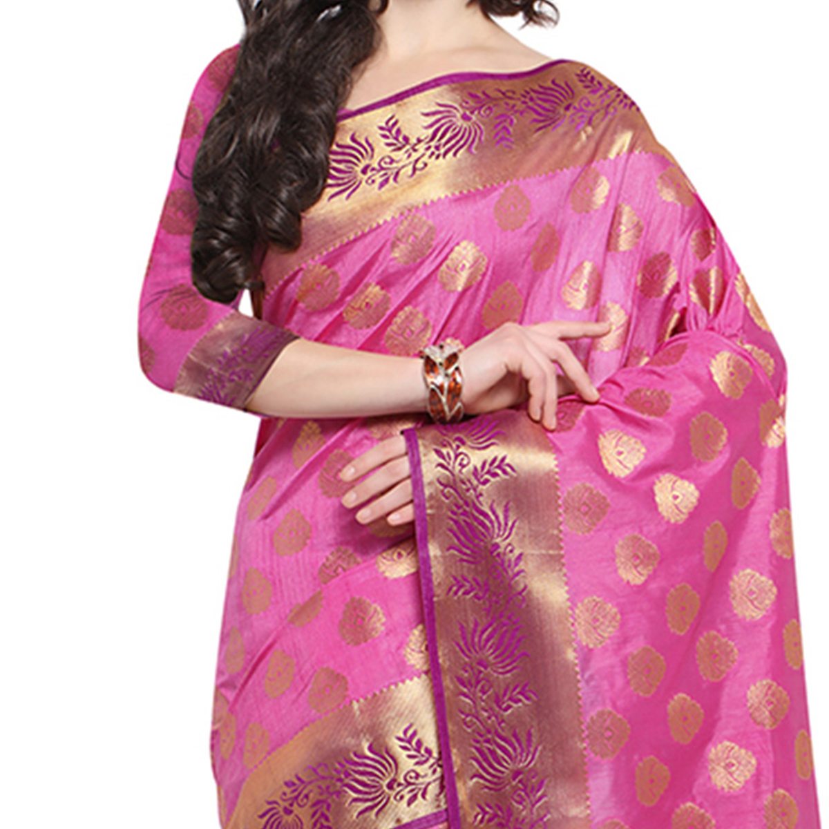Pink & Purple Festive Wear Banarasi Art Silk Saree