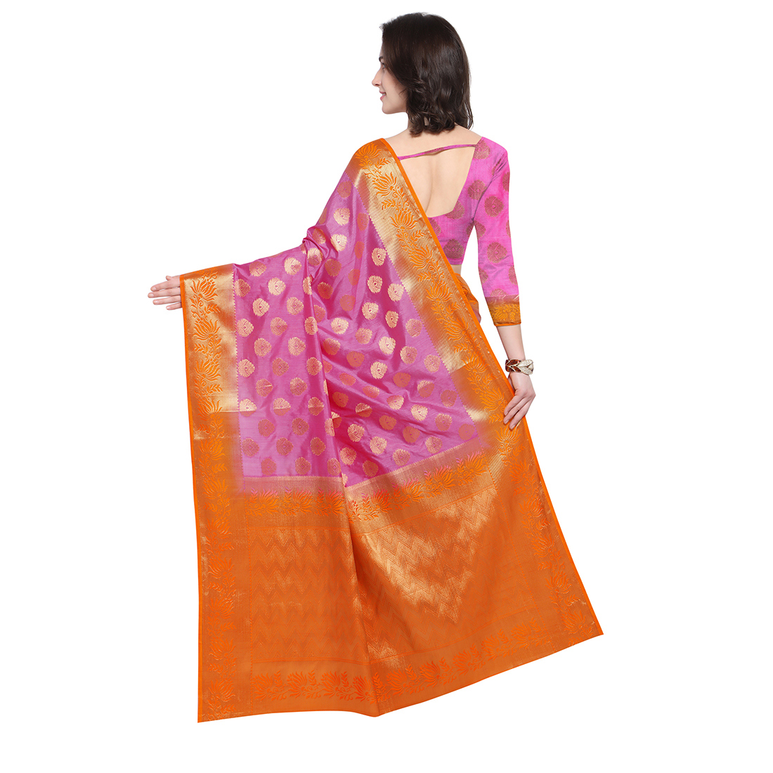 Pink & Orange Festive Wear Banarasi Art Silk Saree