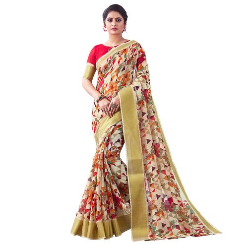 Pretty Offwhite Colored Partywear Digital Printed Linen Saree