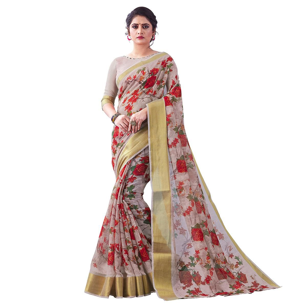 Alluring Light Brown Colored Partywear Digital Printed Linen Saree
