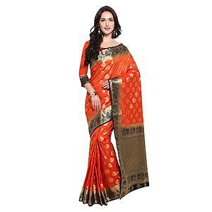 Red & black Festive Wear Banarasi Art Silk Saree