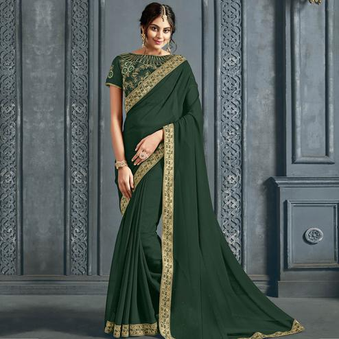 Opulent Green Colored Partywear Printed Chiffon Saree