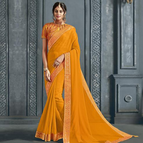 Exceptional Yellow Colored Partywear Printed Chiffon Saree