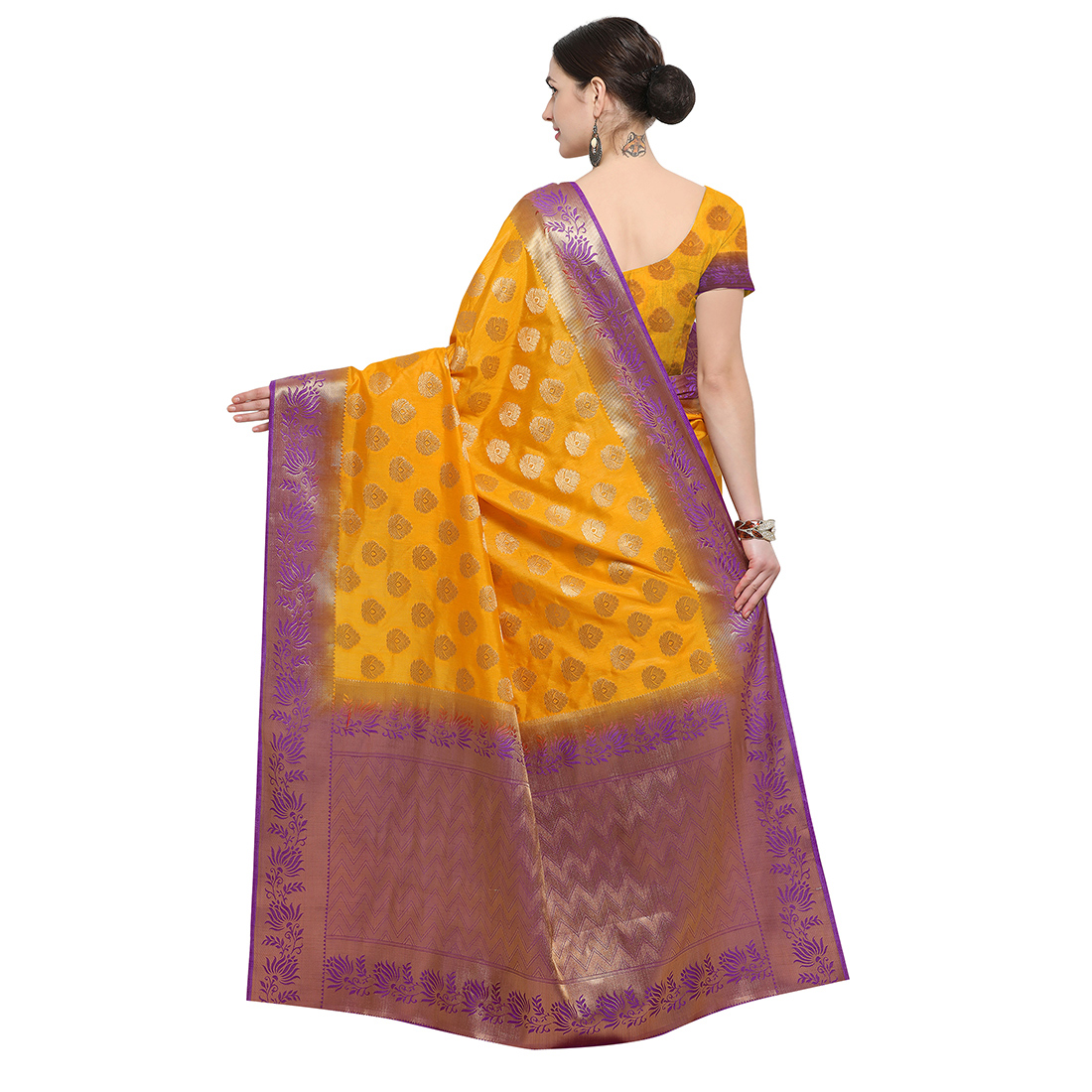 Yellow & Purple Festive Wear Banarasi Art Silk Saree