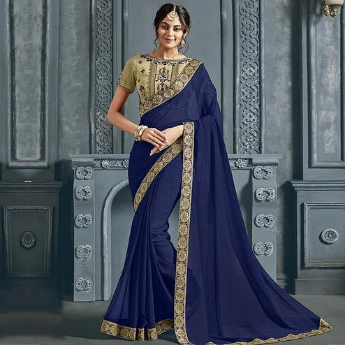 Gleaming Navy Blue Colored Partywear Printed Chiffon Saree