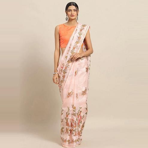 Adorable Peach Colored Casual Wear Floral Printed Linen Saree