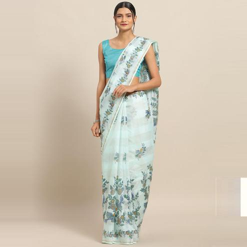 Glorious Sky Blue Colored Casual Wear Floral Printed Linen Saree