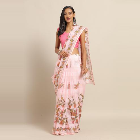 Attractive Pink Colored Casual Wear Floral Printed Linen Saree