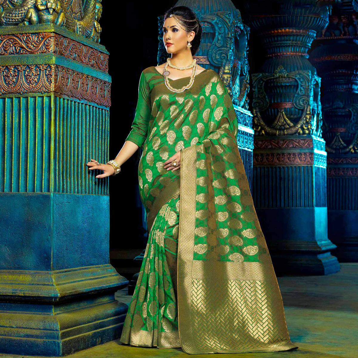be29a7cd3fd Buy Green Top Dyed Polyester Weaving Saree online India, Best Prices,  Reviews - Peachmode