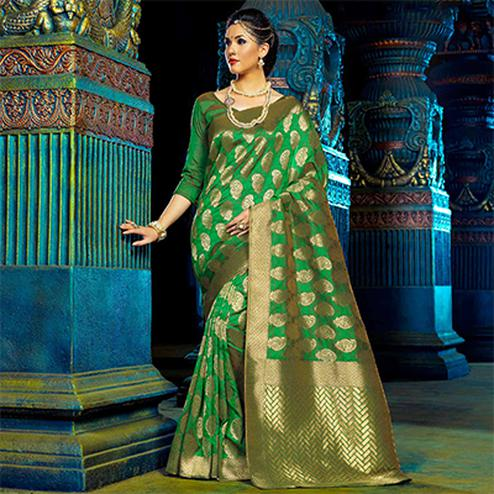 Green Top Dyed Polyester Weaving Saree