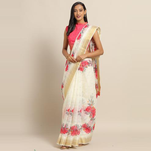 Charming Cream Colored Casual Wear Floral Printed Linen Saree