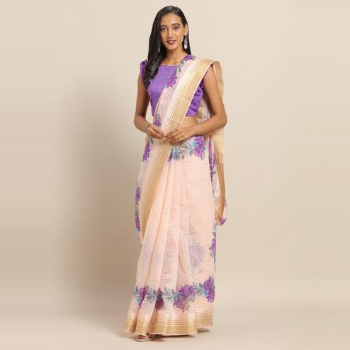 Jazzy Peach Colored Casual Wear Floral Printed Linen Saree