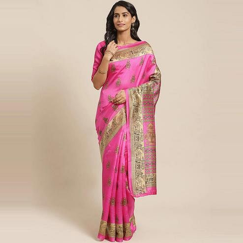Amazing Pink Colored Casual Wear Printed Silk Blend Saree