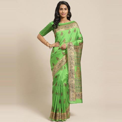 Gorgeous Green Colored Casual Wear Printed Silk Blend Saree