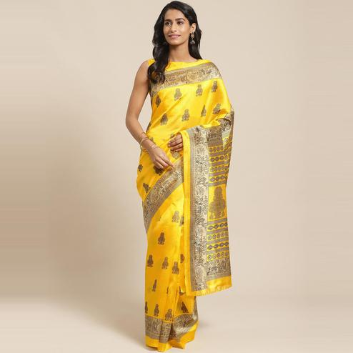 Blissful Yellow Colored Casual Wear Printed Silk Blend Saree