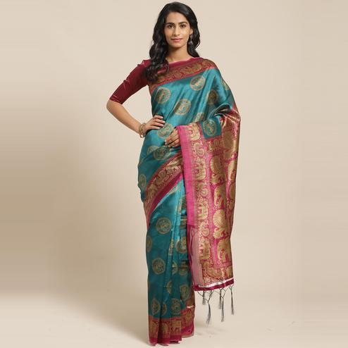 Ideal Teal Green Colored Casual Wear Printed Art Silk Saree