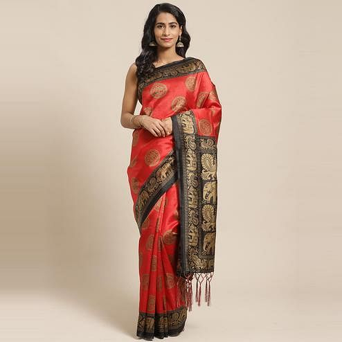 Imposing Red Colored Casual Wear Printed Art Silk Saree