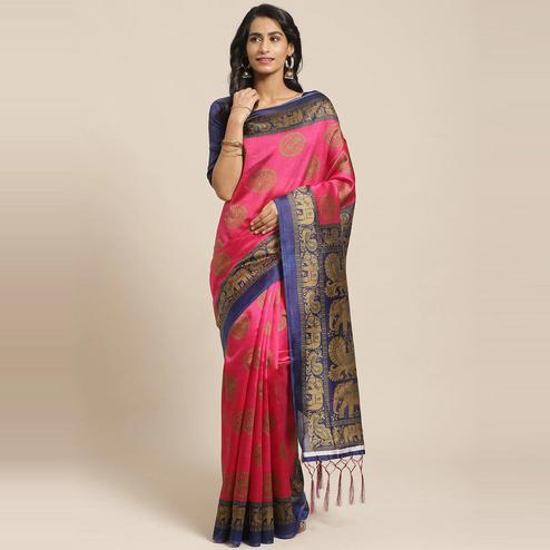 Lovely Pink Colored Casual Wear Printed Art Silk Saree