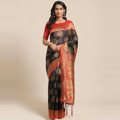 Majesty Black Colored Casual Wear Printed Art Silk Saree