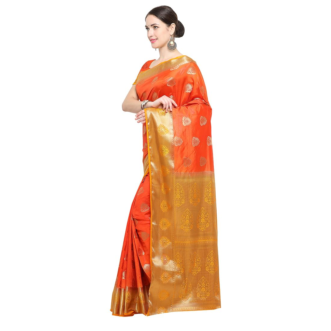 Orange Festive Wear Banarasi Art Silk Saree