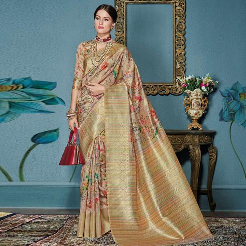 Trendy Peach - Beige Colored Festive Wear Woven Silk Saree