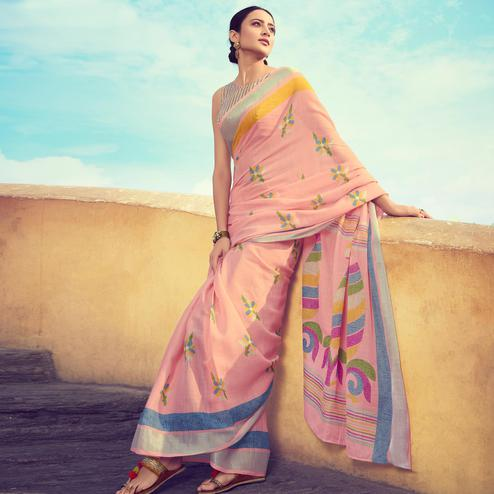 Gleaming Peach Colored Casual Wear Printed Linen Cotton Saree