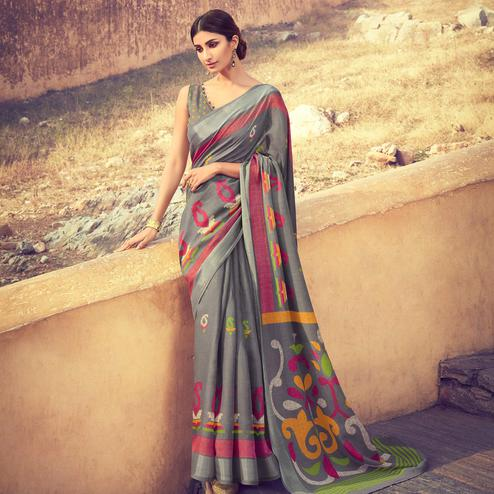 Mesmeric Gray Colored Casual Wear Printed Linen Cotton Saree