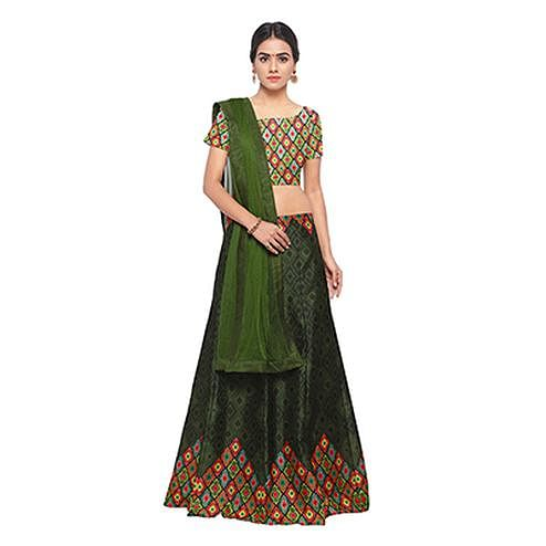 Gorgeous Green Colored Designer Digital Printed Banglori Silk Lehenga Choli
