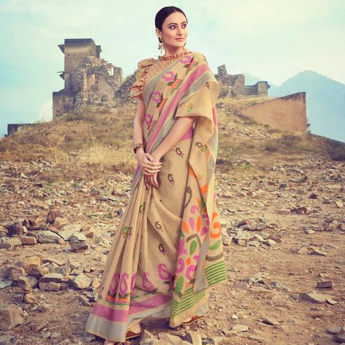 Refreshing Beige Colored Casual Wear Printed Linen Cotton Saree