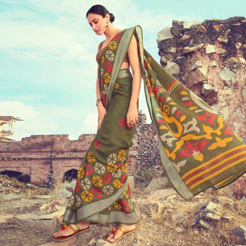 Magnetic Mehendi Green Colored Casual Wear Printed Linen Cotton Saree