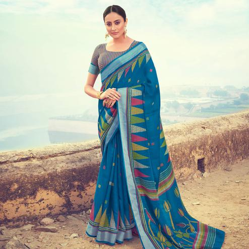 Hypnotic Blue Colored Casual Wear Printed Linen Cotton Saree