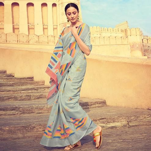 Excellent Light Gray Colored Casual Wear Printed Linen Cotton Saree