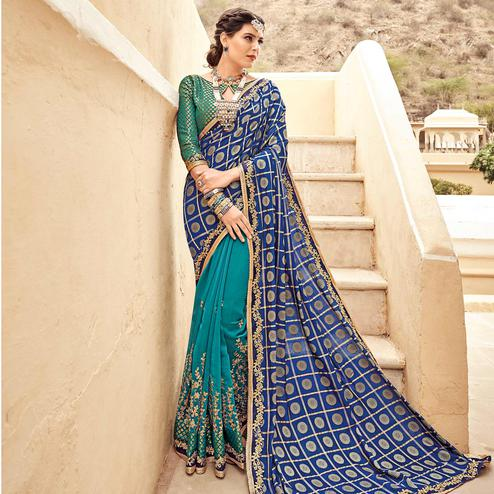 Preferable Navy Blue - Turquoise Colored Festive Wear Woven Silk Half - Half Saree