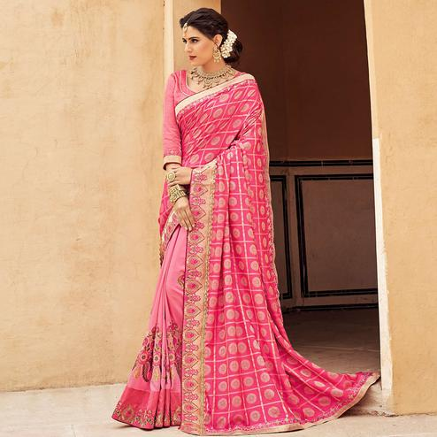 Flamboyant Pink Colored Festive Wear Woven Silk Half - Half Saree