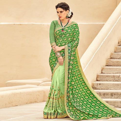 Pretty Green Colored Festive Wear Woven Silk Half - Half Saree