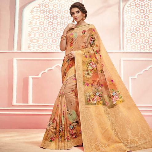 Alluring Peach Colored Partywear Digital Printed Linen Cotton Saree