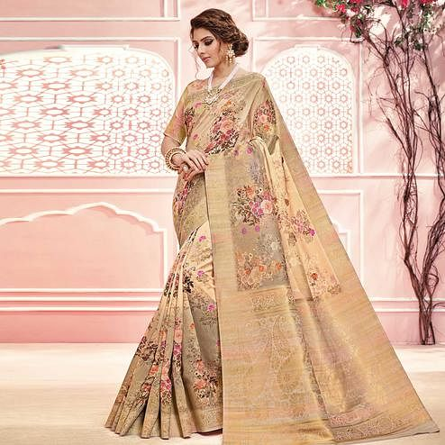 Flaunt Beige Colored Partywear Digital Printed Linen Cotton Saree