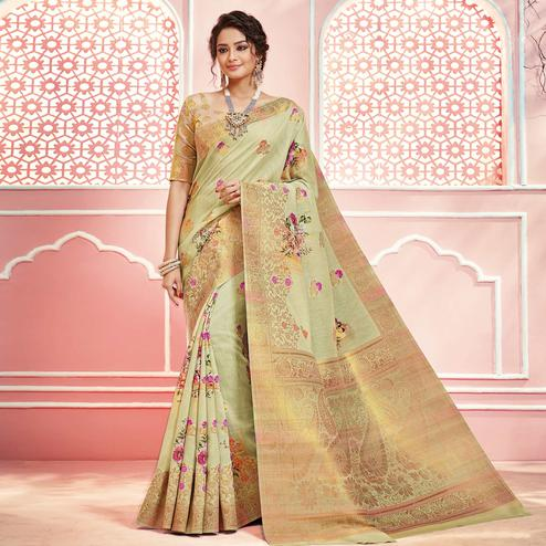 Stunning Pastel Green Colored Partywear Digital Printed Linen Cotton Saree