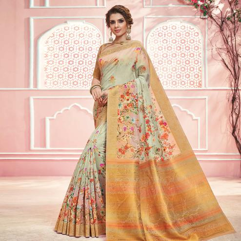 Flirty Light Green Colored Partywear Digital Printed Linen Cotton Saree