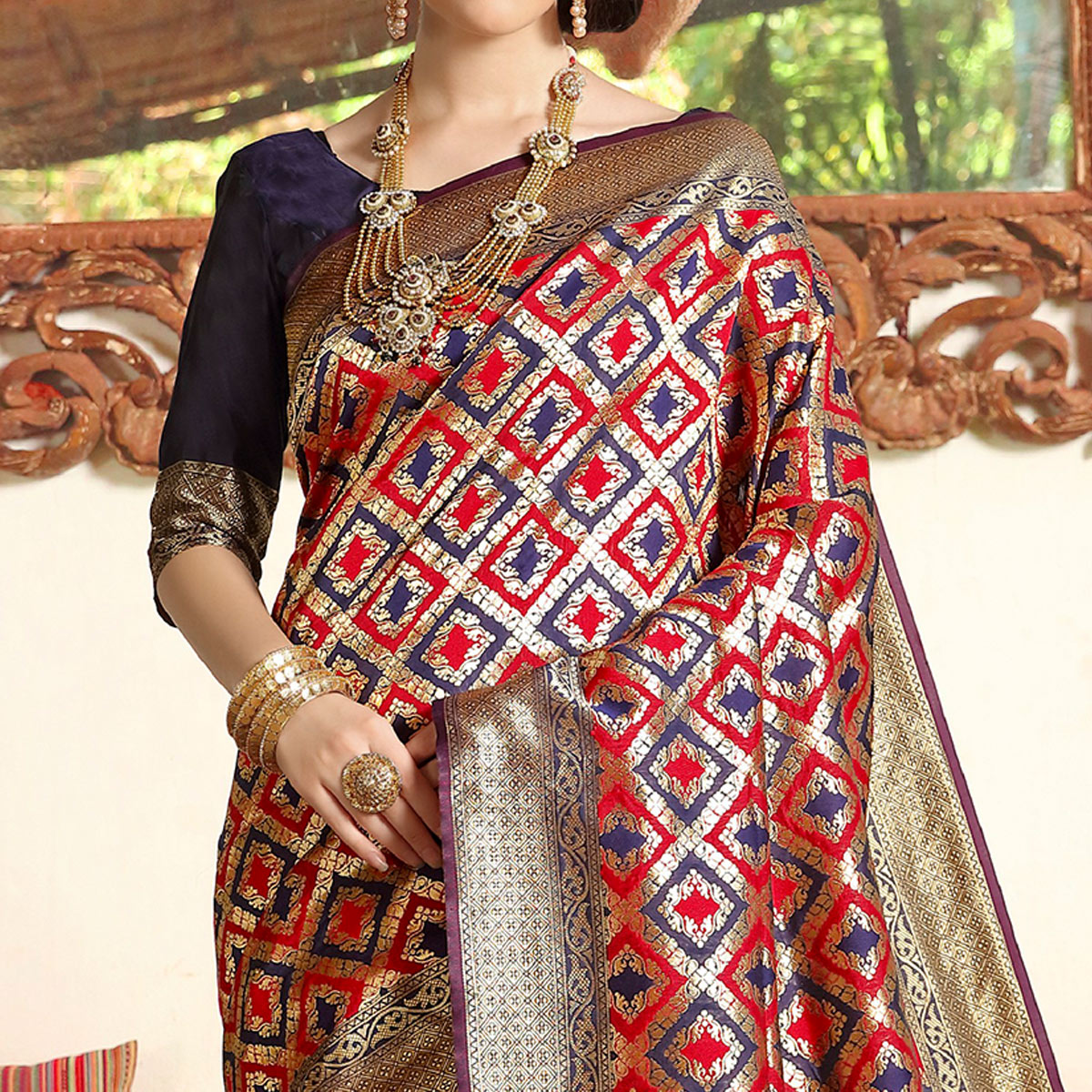 Prominent Blue - Red Colored Festive Wear Woven Soft Silk Saree