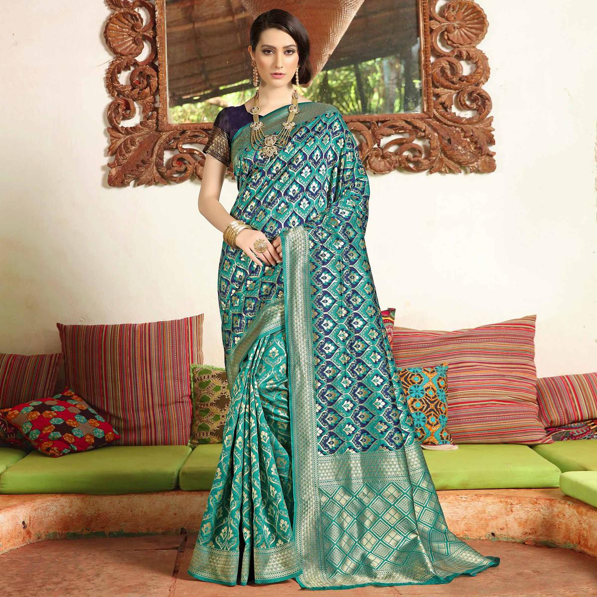 Appealing Turquoise Blue Colored Festive Wear Woven Soft Silk Saree
