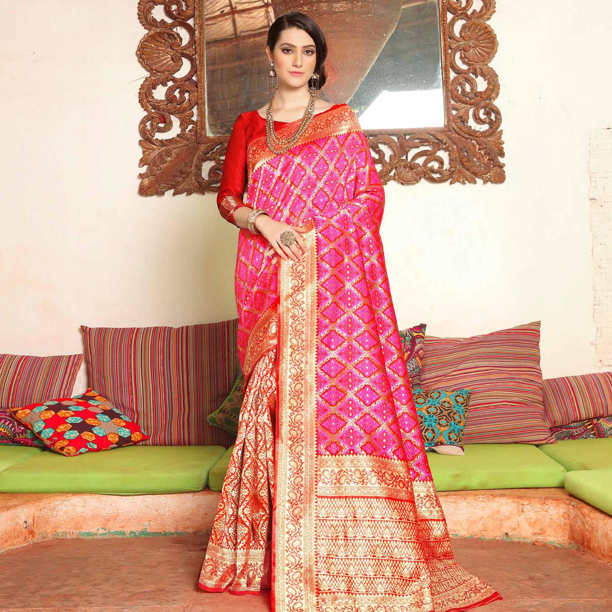 Capricious Pink Colored Festive Wear Woven Soft Silk Saree