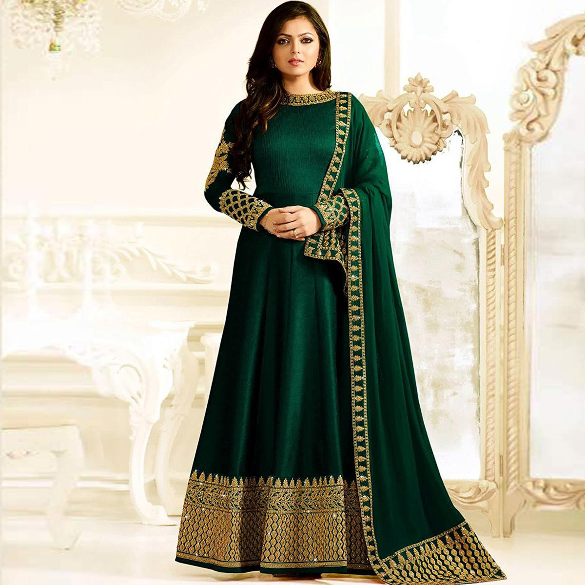 Gorgeous Green Designer Embroidered Banglori Silk Anarkali Suit